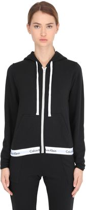 Logo Trim Zip-Up Cotton Sweatshirt $99 thestylecure.com
