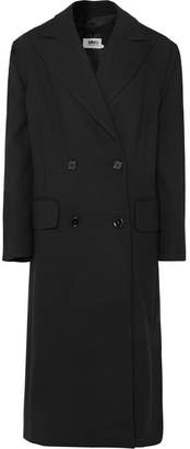MM6 MAISON MARGIELA Bow-detailed Double-breasted Cady Coat - Black