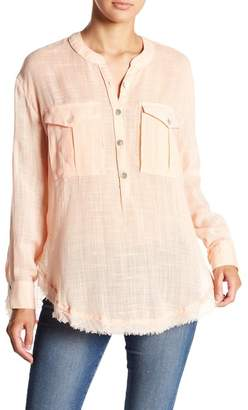 Free People Linen Button-Down Long Sleeve Shirt