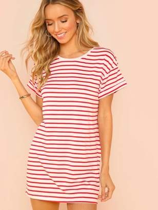 128810a19b7b Shein Striped Print T-shirt Dress