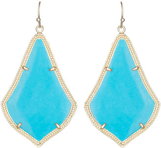 Kendra Scott Alexandra Large Magnesite Drop Earrings, Turquoise/Golden $50 thestylecure.com