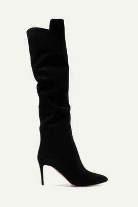 Aquazzura Gainsbourg 85 Suede Knee Boots - Black