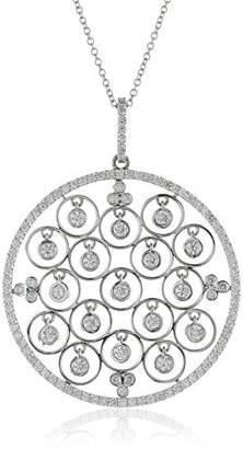 14k Gold Floating Circle Diamond Drops Circle Pendant Necklace (1.25cttw