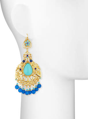 Jose & Maria Barrera Filigree Chandelier Earrings, Blue