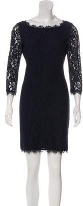 Diane von Furstenberg Long Sleeve Lace Mini Dress