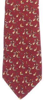 Salvatore Ferragamo Chicken Man Print Silk Tie