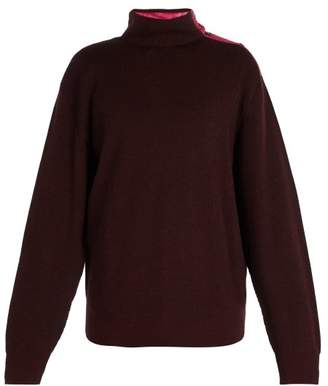 Lanvin Press Stud High Neck Sweater - Mens - Purple