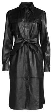 Polo Ralph Lauren Women's Leather Shirtdress - Black - Size 10