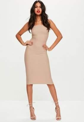 Missguided Petite Nude Strapless Bandage Midi Dress, Beige