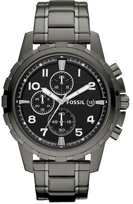 Fossil Mens Dean Stainless Steel Smoke Watch