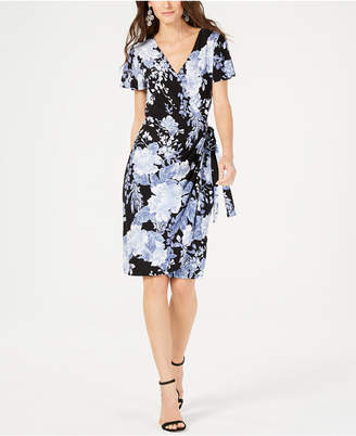 INC International Concepts I.n.c. Printed Flutter-Sleeve Wrap Dress