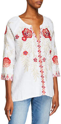 Johnny Was Maya Embroidered Linen Tie-Neck Peasant Blouse