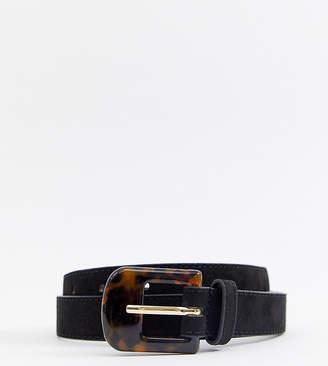Accessorize tortoise shell buckle jeans belt in black