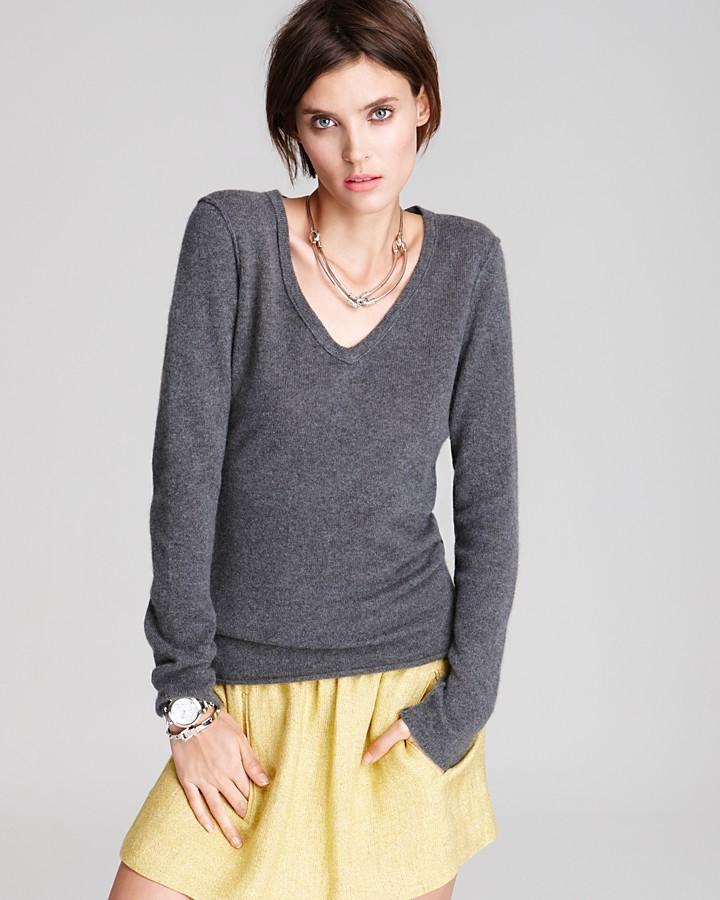 Aqua Cashmere Sweater - V Neck with Exposed Seams