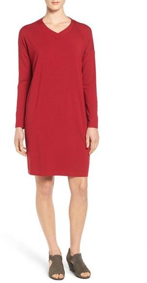 Women's Eileen Fisher V-Neck Stretch Jersey Shift Dress