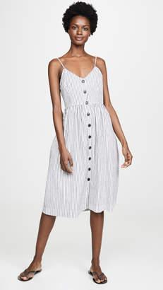 ATM Anthony Thomas Melillo Linen Cotton Striped Button Front Tank Dress