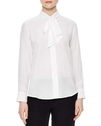 Sandro Caline Tie-Neck Silk Shirt