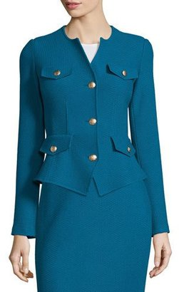 St. John Collection Textural Twill Knit Jacket, Baltic Blue $1,595 thestylecure.com