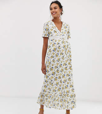 849a6d2274055 Asos DESIGN Maternity lace insert button through maxi tea dress in ditsy floral  print