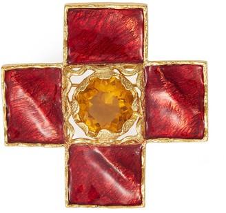 Loren Stazia Gemstone embellished cross brooch