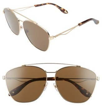 Women's Givenchy 65Mm Round Aviator Sunglasses - Gold $375 thestylecure.com