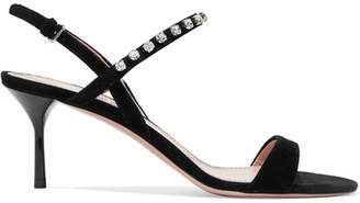 Miu Miu Crystal-embellished Suede Slingback Sandals