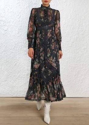 Zimmermann Unbridled Tucked Dress In Ash Garden Floral