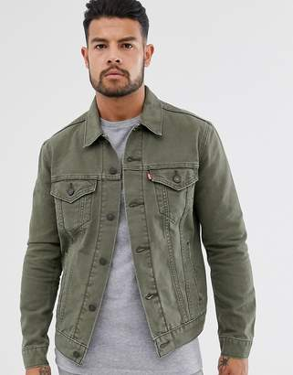 Levi's original canvas trucker jacket in olive night