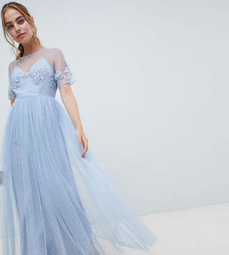 Asos DESIGN Petite Bridesmaid lace and dobby mesh overlay maxi dress