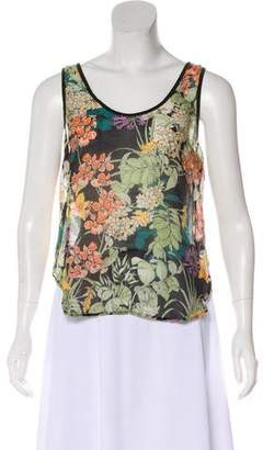 Charles Henry Sleeveless Floral Top