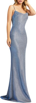 Mac Duggal Ieena for Sparkle Cowl Neck Trumpet Gown