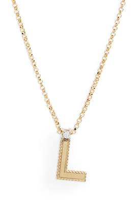 Roberto Coin Diamond Princess Letter Pendant Necklace