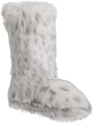 Pottery Barn Teen Gray Leopard Faux-Fur Tall Booties, X-Large