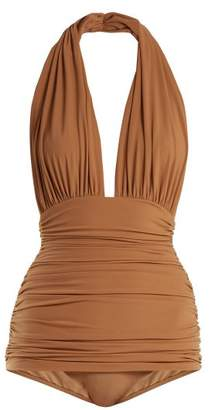 Norma Kamali Bill Halterneck Swimsuit - Womens - Tan