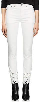 Saint Laurent Women's Eyelet Denim Skinny Jeans - White