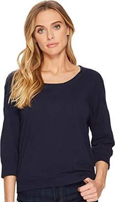 Three Dots Women's slub Jersey Short Loose Sweatshirt
