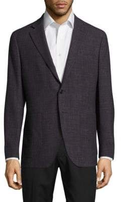 Saks Fifth Avenue Modern-Fit Wool & Linen Check Jacket