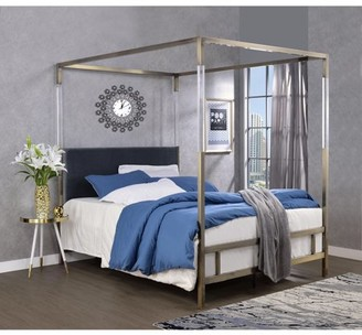 ACME Furniture ACME Raegan Queen Canopy Bed in Acrylic, Antique Brass and Gray Velvet