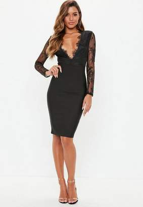 Missguided Black Lace Plunge Bandage Bodycon Dress