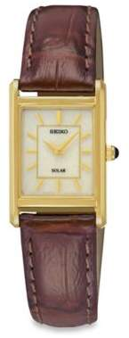 Seiko Ladies' Square Solar Watch in Goldtone Stainless Steel with Brown Leather Wrist Strap $126.75 thestylecure.com