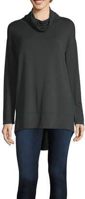 Liz Claiborne Womens Mock Neck Long Sleeve Tunic Top
