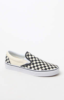 Vans Classic Checkerboard White & Black Slip-On Shoes
