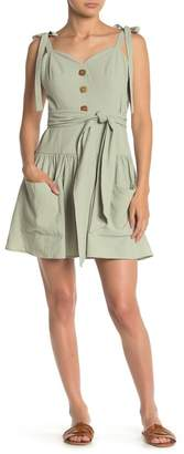 Love + Harmony Patch Pocket Tie Strap Woven Mini Dress