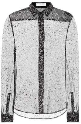 Saint Laurent Glitter silk-blend shirt
