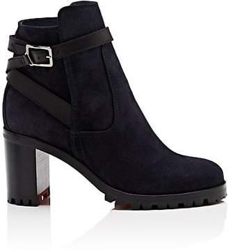 Christian Louboutin Women's Trapeurdekoi Suede Ankle Boots - Navy