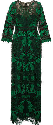 Marchesa Notte - Guipure Lace Gown - Green $1,115 thestylecure.com
