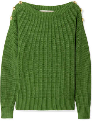 MICHAEL Michael Kors Button-embellished Ribbed Cotton-blend Sweater - Green