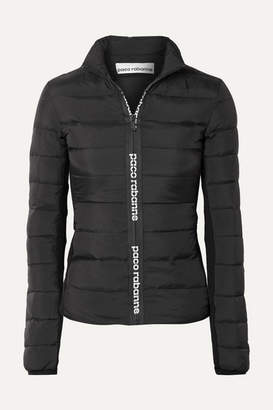Paco Rabanne Stretch-knit Paneled Quilted Shell Down Jacket - Black