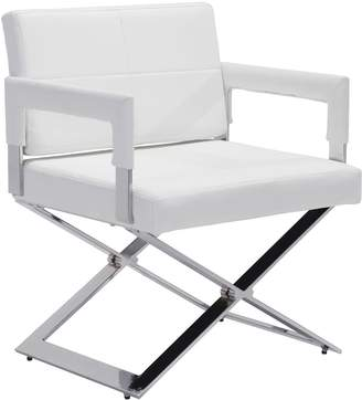 ZUO Modern Upholstered Faux-Leather Arm Dining Chair