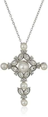 Swarovski Sterling Silver Freshwater Cultured Pearl and Crystal Cross Pendant Necklace